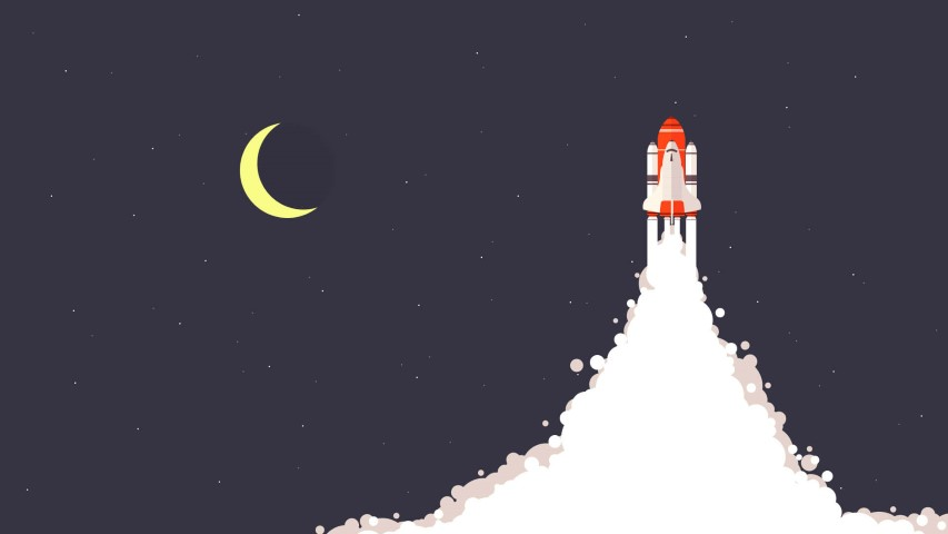 flat design rocket night