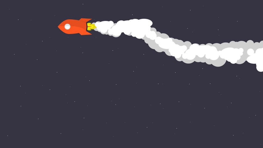 flat design spaceship night