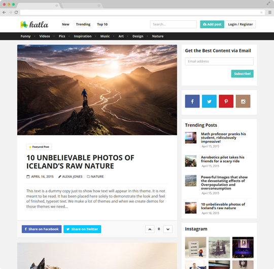 Katla | User Generated Content Theme