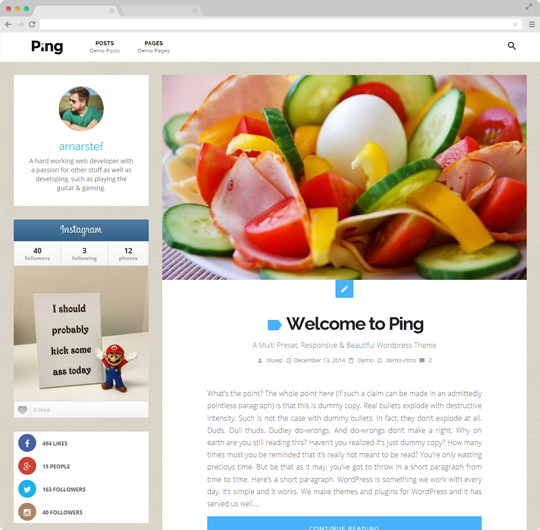 Ping | A Charming Personal WordPress Blog Theme